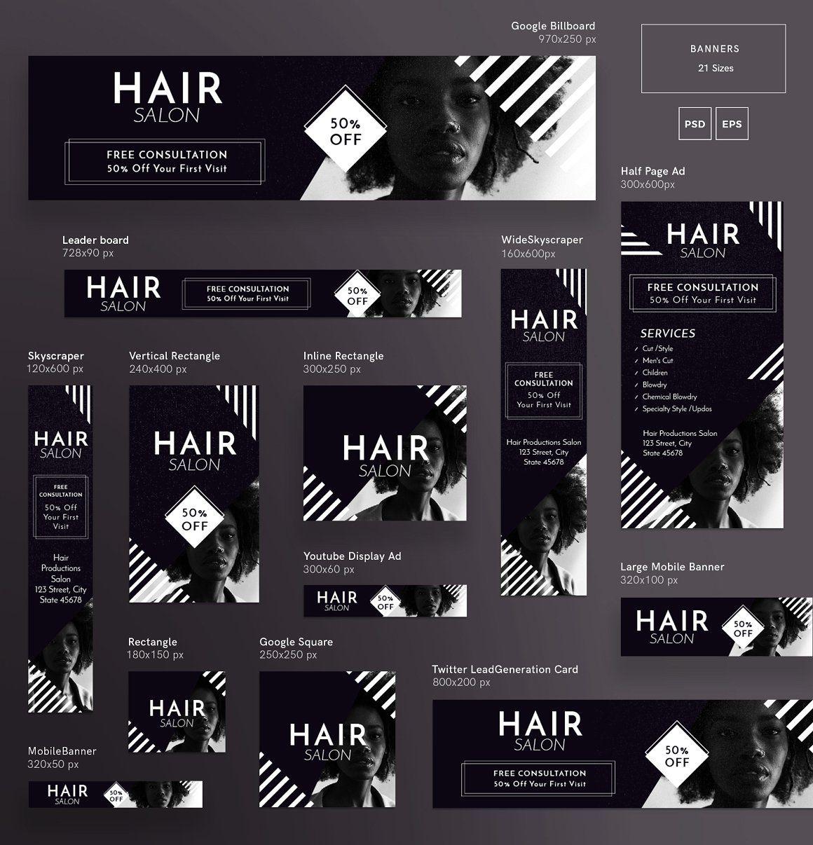 Mega Bundle Hair Salon Web Banner Design Banner Design Inspiration Banner Ads Design