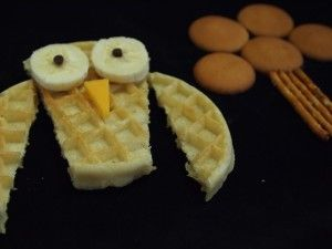 I've seen some crazy creative kids food art but I think I could actually do this waffle owl!