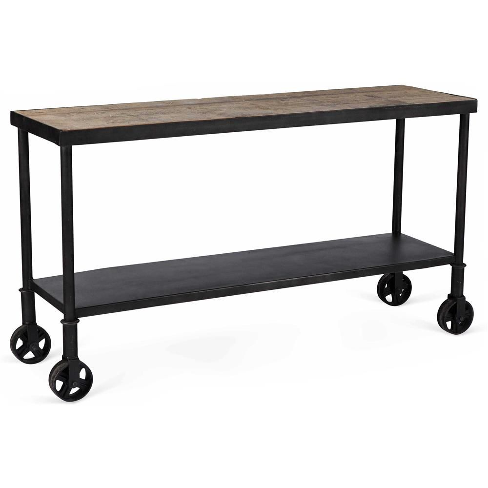 Belker Loft Reclaimed Wood Iron Casters Cart Console Table Kathy Kuo Home