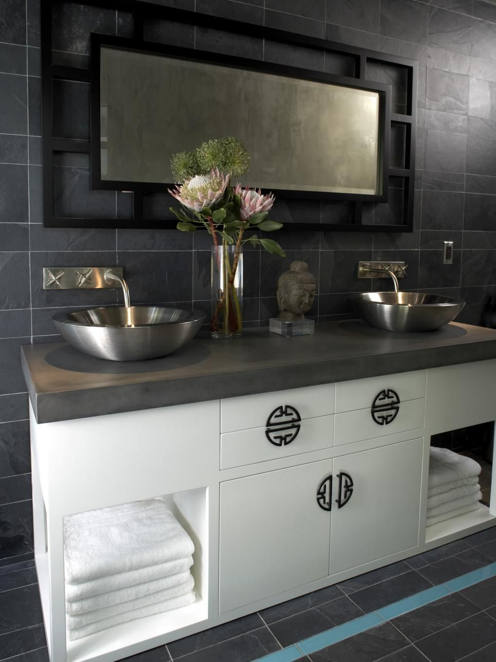 Clean Lines, Vessel Sinks And Asian Style Cabinet Hardware Give This  Gray Tiled