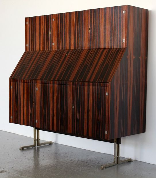 Anonymous Rosewood And Chromed Metal Secretary Cabinet 1950s