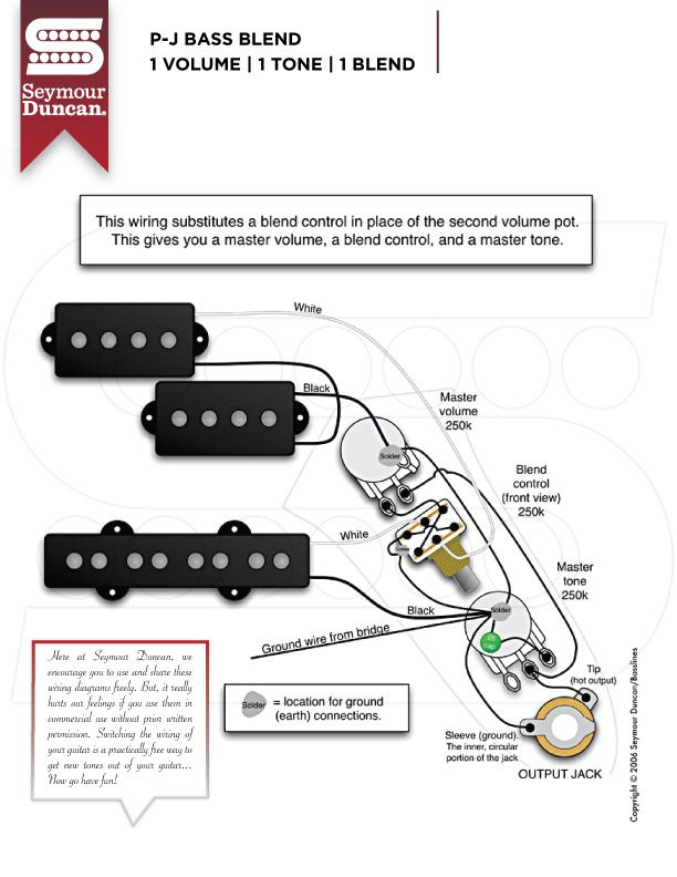 wiring diagrams  seymour duncan  bass guitar pickups j