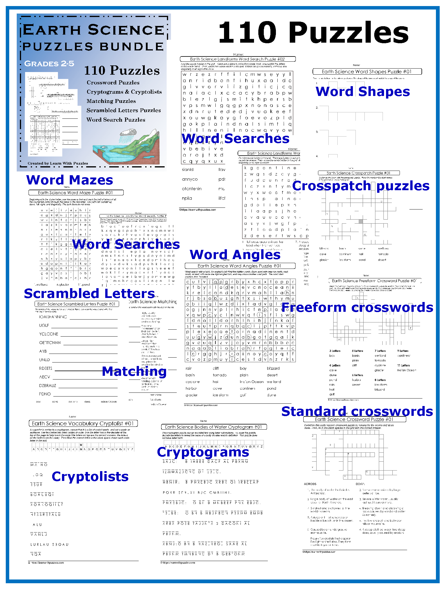 Earth Science Amp Processes Bundle Of Puzzles