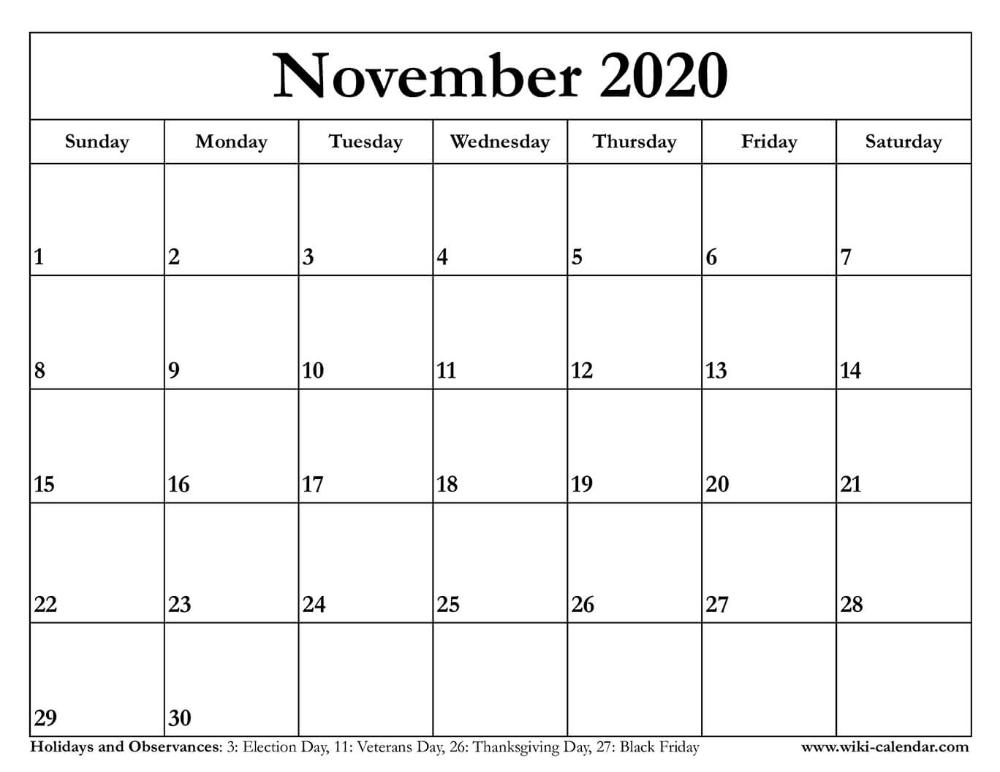 November 2020 Calendar Printable Calendar Printables Calendar November Calendar