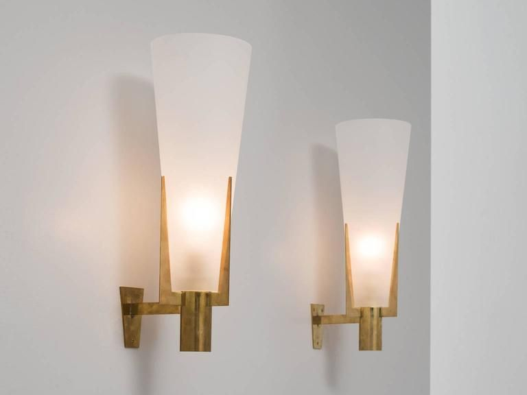 Set Of Two Large Brass And Frosted Glass Wall Lights Frosted Glass Wall Light Wall Lights Large Wall Lighting