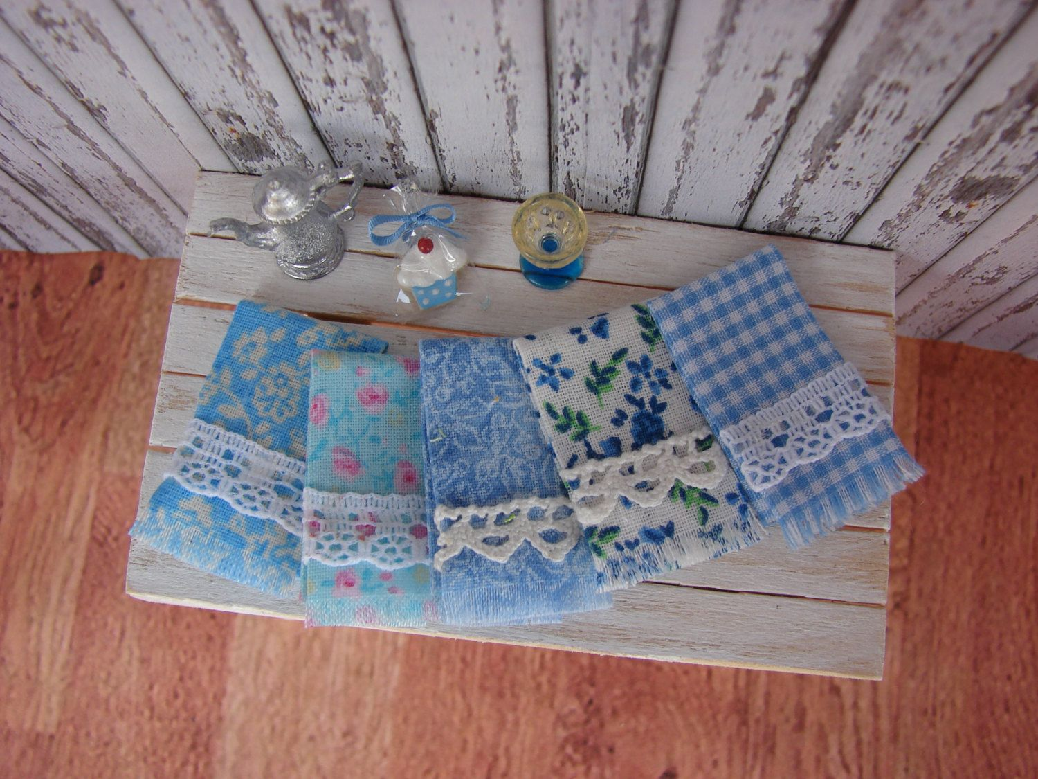 Dollhouse Miniature Shabby Chic Kitchen Fringed Tea Towels Set Of 5 In Blue  And White And Lace Trims. $19.95, Via Etsy.