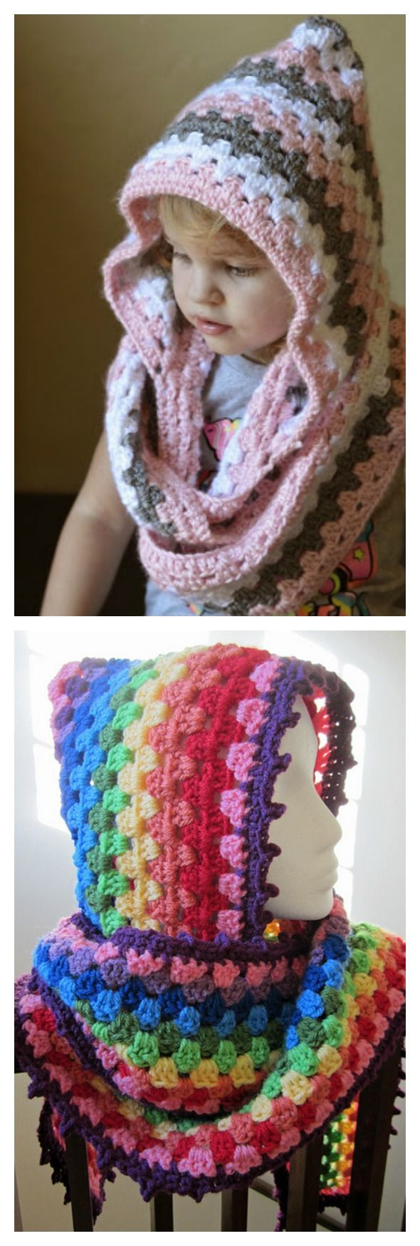 Harlequin Hoodie Free Crochet Pattern   explicación de gorro y ...