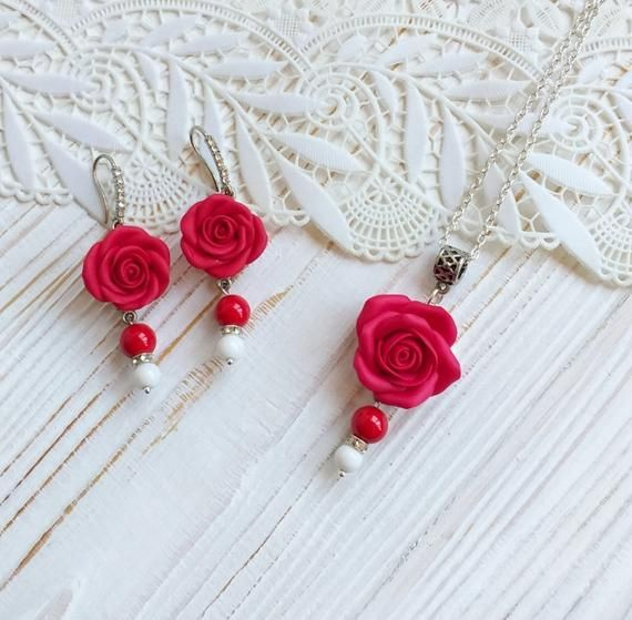 Set Red Rose Necklace And Earrings Red Flower Necklace Red Rose Necklace Red Rose Earrings Wedding Jewelry Gift Polymer Clay Jewelry Rose Jewelry Polymer Clay Bracelet