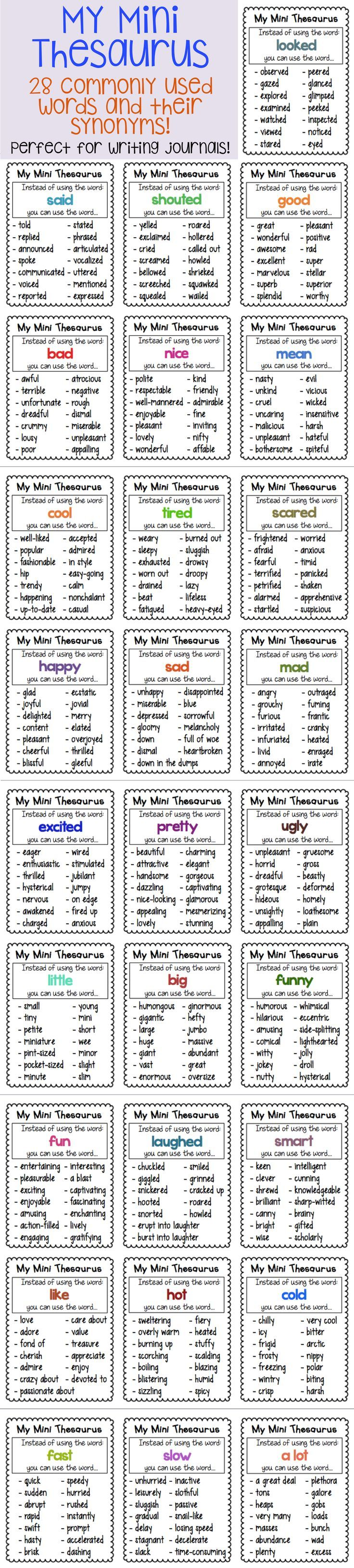 Thesaurus Charts Synonyms For Common Words Chart Journal And