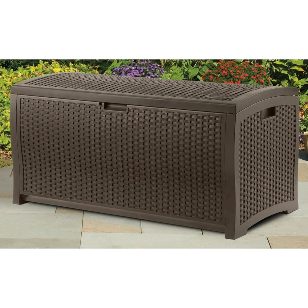 Wicker Resin Deck Box Backyard Patio Pool Toy Storage Suncast Outdoor 73  Gallon #Suncast