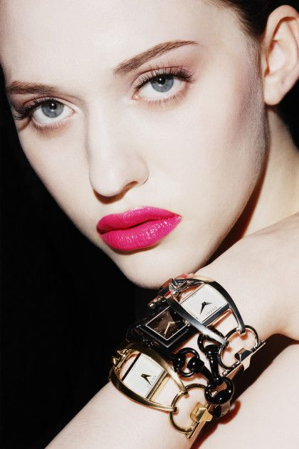 Hot pink lips by Kat Dennings