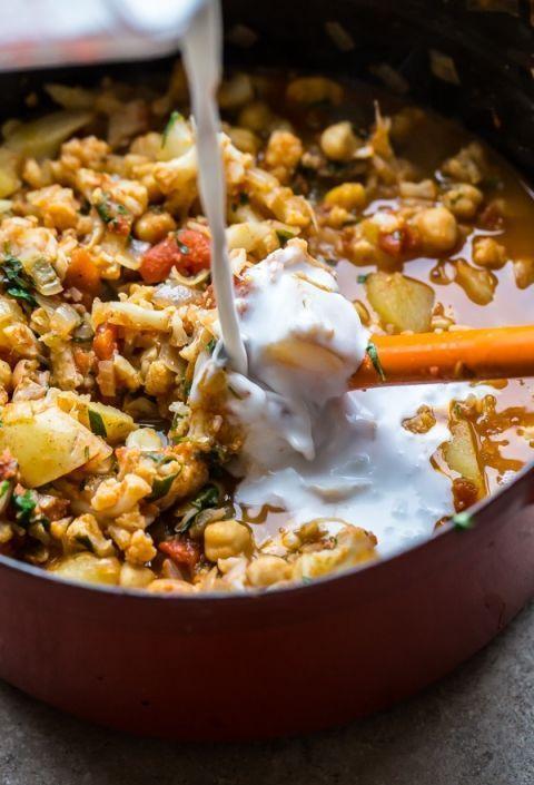 Vegan Cauliflower Potato And Chickpea Curry Recipe Vegan Cauliflower Vegan Dishes Vegan Recipes