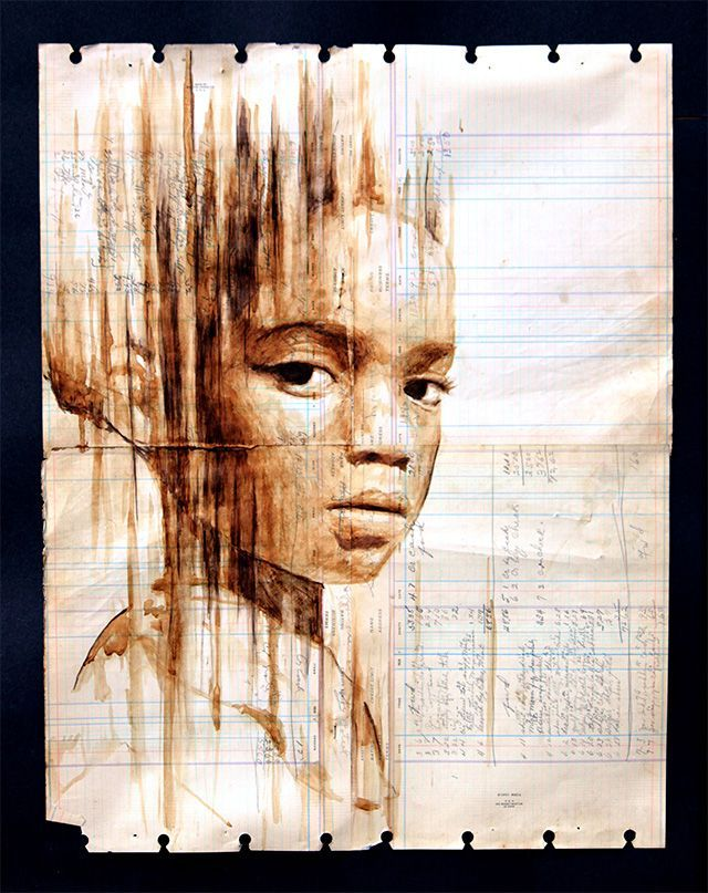 Painted with Coffee on Century-Old Ledger Paper by Michael Aaron Williams Portraits Painted with Coffee on Century Old Ledger Paper by Michael Aaron Williams portraits painting coffeePortraits Painted with Coffee on Century Old Ledger Paper by Michael Aaron Williams portraits painting coffee
