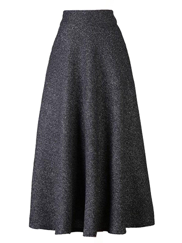 06b3f94374f1d Choies Women s High Waist A-Line Flared Long Skirt Winter Fall Midi ...