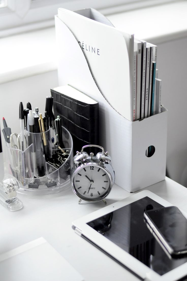 Black And White Workspaces Organized Home Office Decor