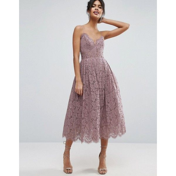 Asos Lace Cami Midi Prom Dress 170 Bam Liked On Polyvore Featuring Dresses Purple Cocktail Prom Dress Purple Dress Fashion Bridesmaid Dresses Lace Dress