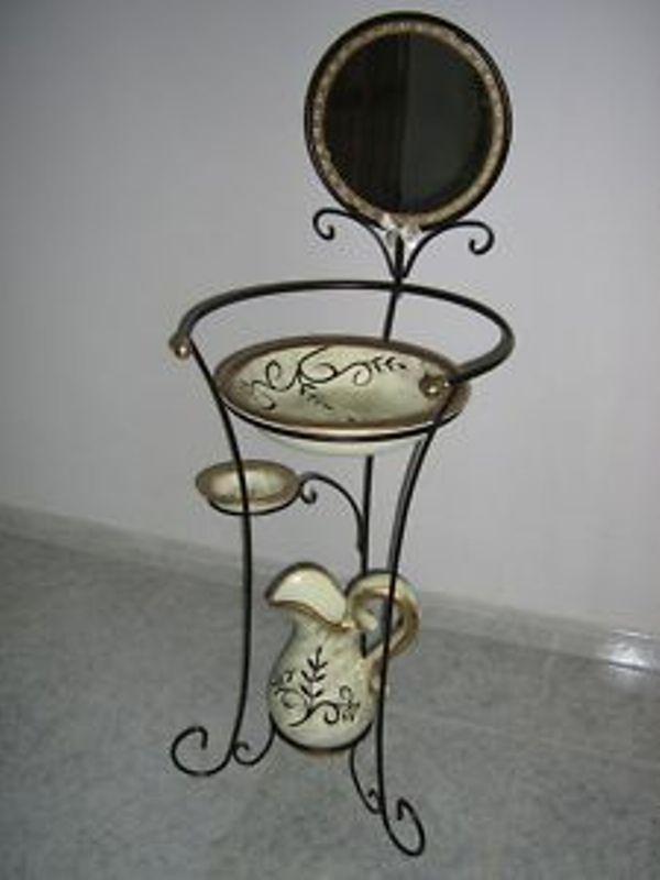 Toilette Catino in ferro battuto  e accessori in ceramica decorata it.picclick.com