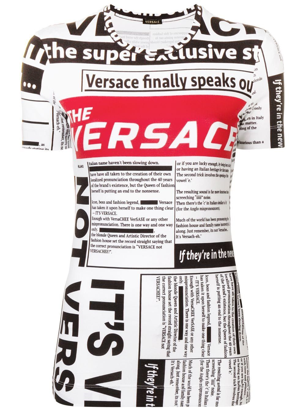 fe1724916c Versace logo newspaper print T-shirt - White in 2019 | Products ...