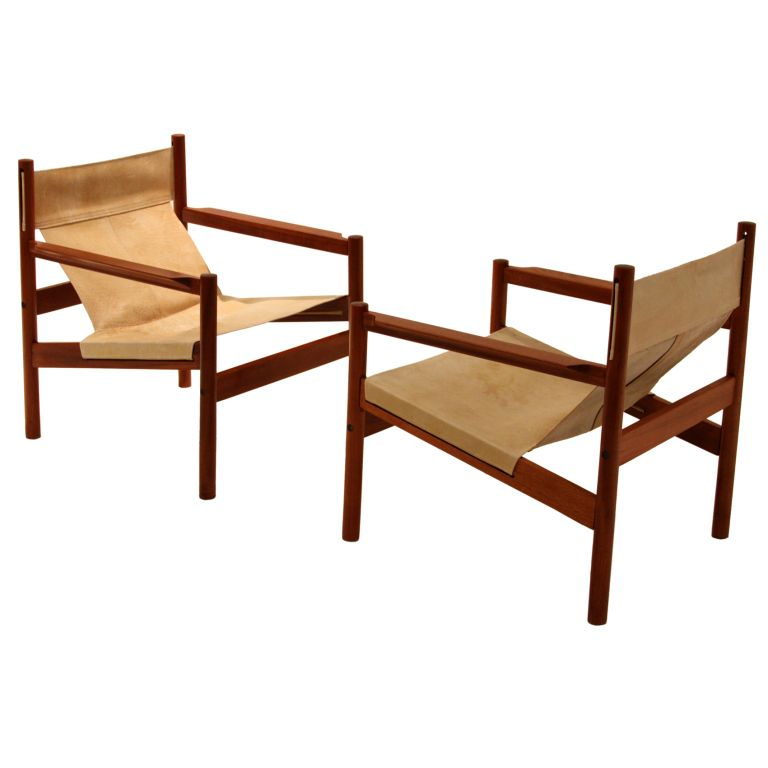 Outstanding Pair Of Roxinho Wood Leather Sling Chairs By Michel Arnoult Dailytribune Chair Design For Home Dailytribuneorg
