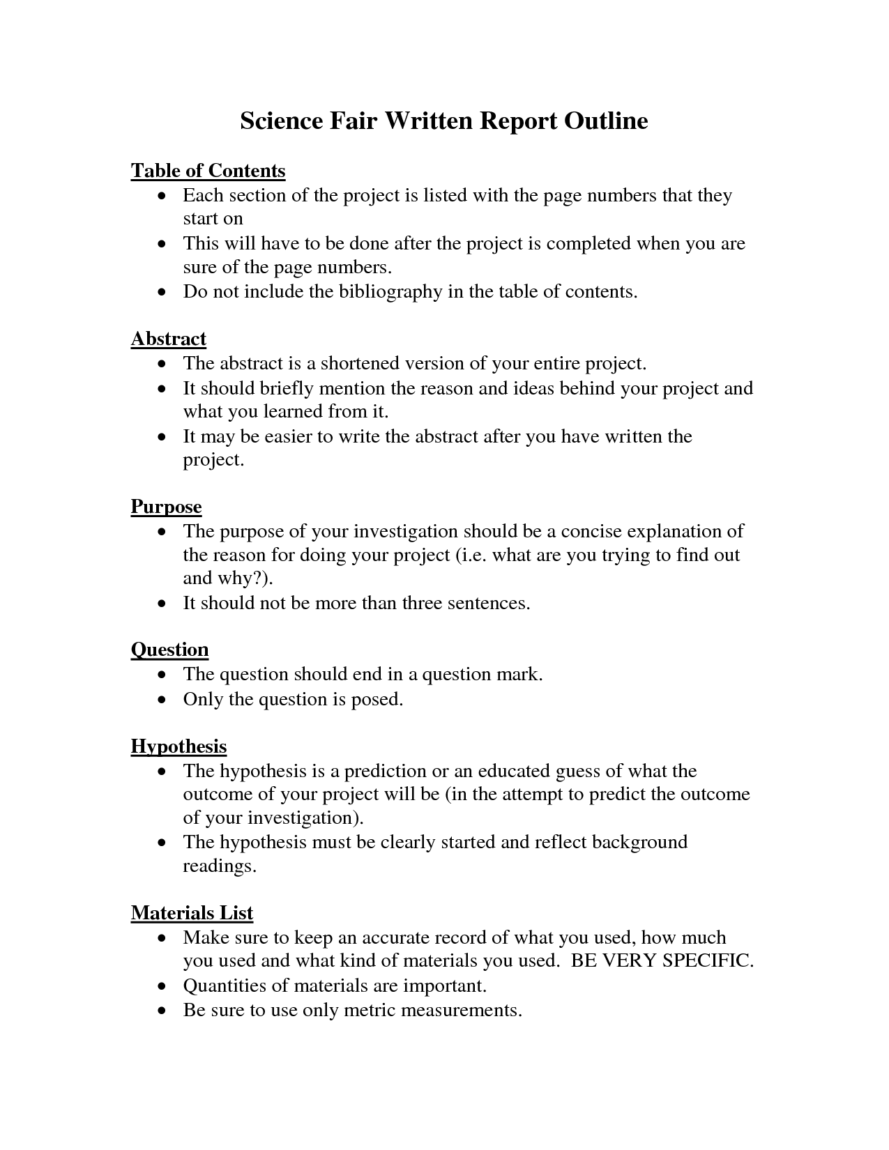 Research paper format for science fair