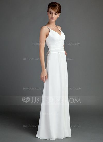 Vestidos princesa/ Formato A Decote V Chá comprimento De chiffon Charmeuse Vestido de noiva com Pregueado Cintos Curvado (002001337)