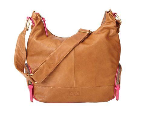 OiOi Soft Tan Leather Hobo Hot Pink Trim - Babbamo