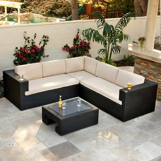 @Overstock - Christopher Knight Home Ventura PE Wicker 4-piece Outdoor Sectional - The Ventura Outdoor Sectional creates a great entertaining area with comfortable seating for up to six adults. With durable black PE wicker and a powder coated aluminum frame, this set can withstands the weather and be enjoyed for years to come.  http://www.overstock.com/Home-Garden/Christopher-Knight-Home-Ventura-PE-Wicker-4-piece-Outdoor-Sectional/6641704/product.html?CID=214117 $2,400.99