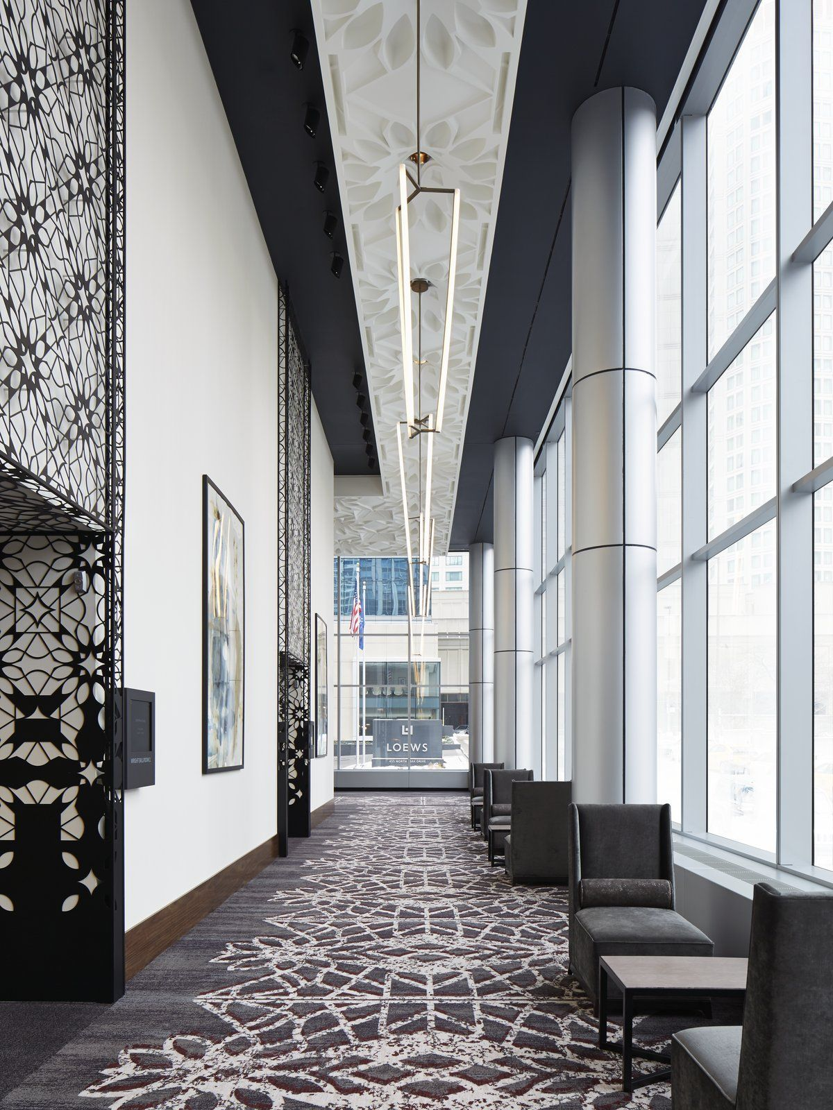 Hotel Room Designs: Loews Chicago Prefunction - Ceiling & Metal Art