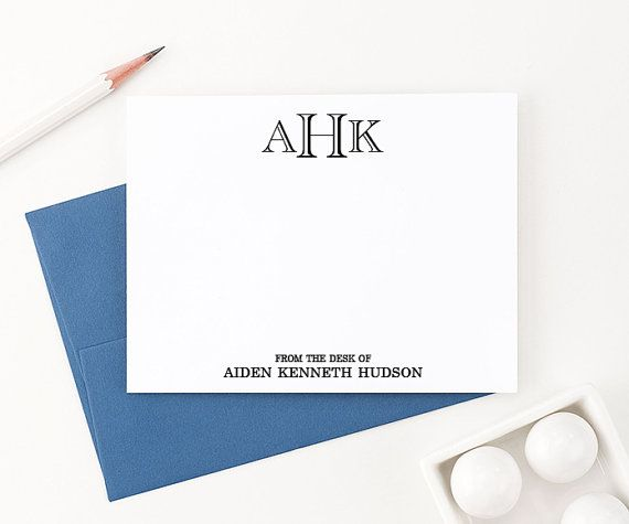 Monogrammed notes Simple business stationery Script Monogram Stationery for Men Custom stationery Decorative Monogram Monogrammed gift