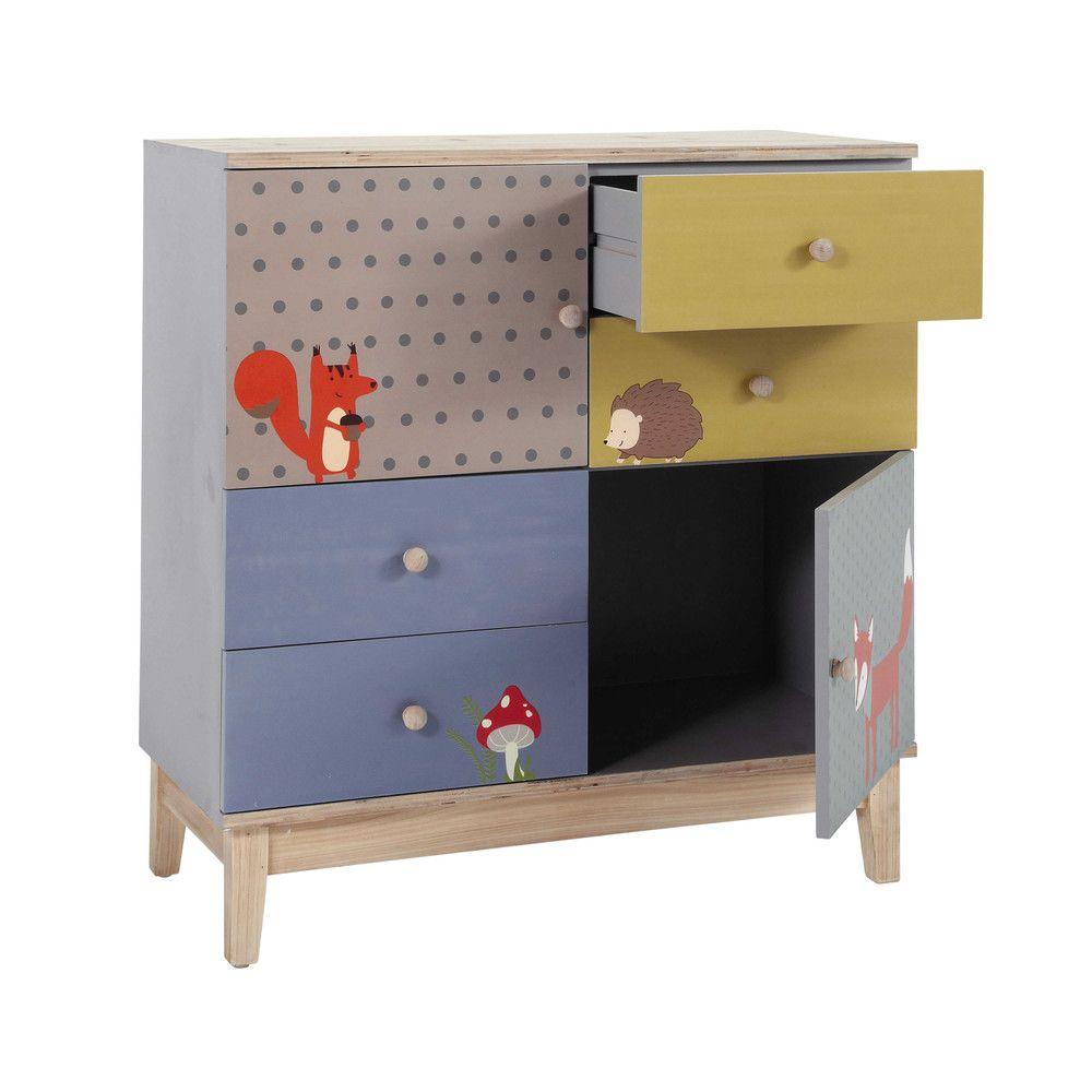 Kinderkommode Mit 2 Türen Und 4 Schubladen Bunt Maisons Du Monde