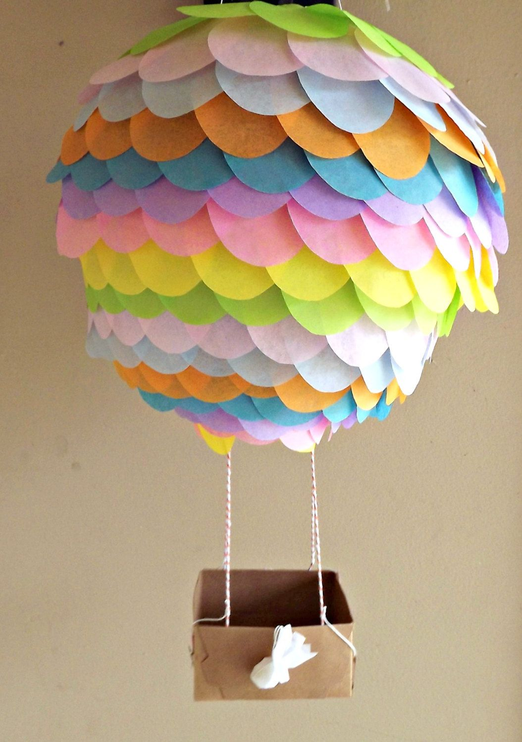Pastel Rainbow Hot Air Balloon Paper Lantern 10 Inch For Parties