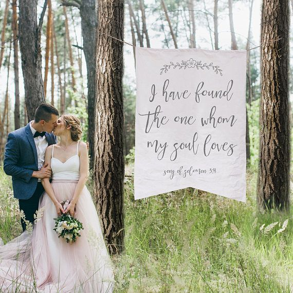 Song Of Solomon Wedding Banner Love Quote Sign Canvas Fabric Ceremony Calligraphy Decor Photo Backdrop Whom My Soul Loves