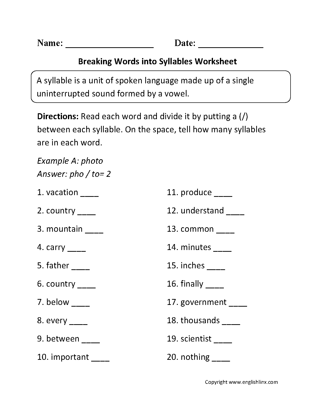 Breaking Words Into Syllables Worksheets In
