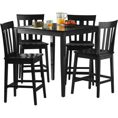 Mainstays 5 Piece Mission Counter Height Dining Set Multiple Colors Set Of 5 Walmart Com Counter Height Dining Sets Counter Height Dining Table Dining Set