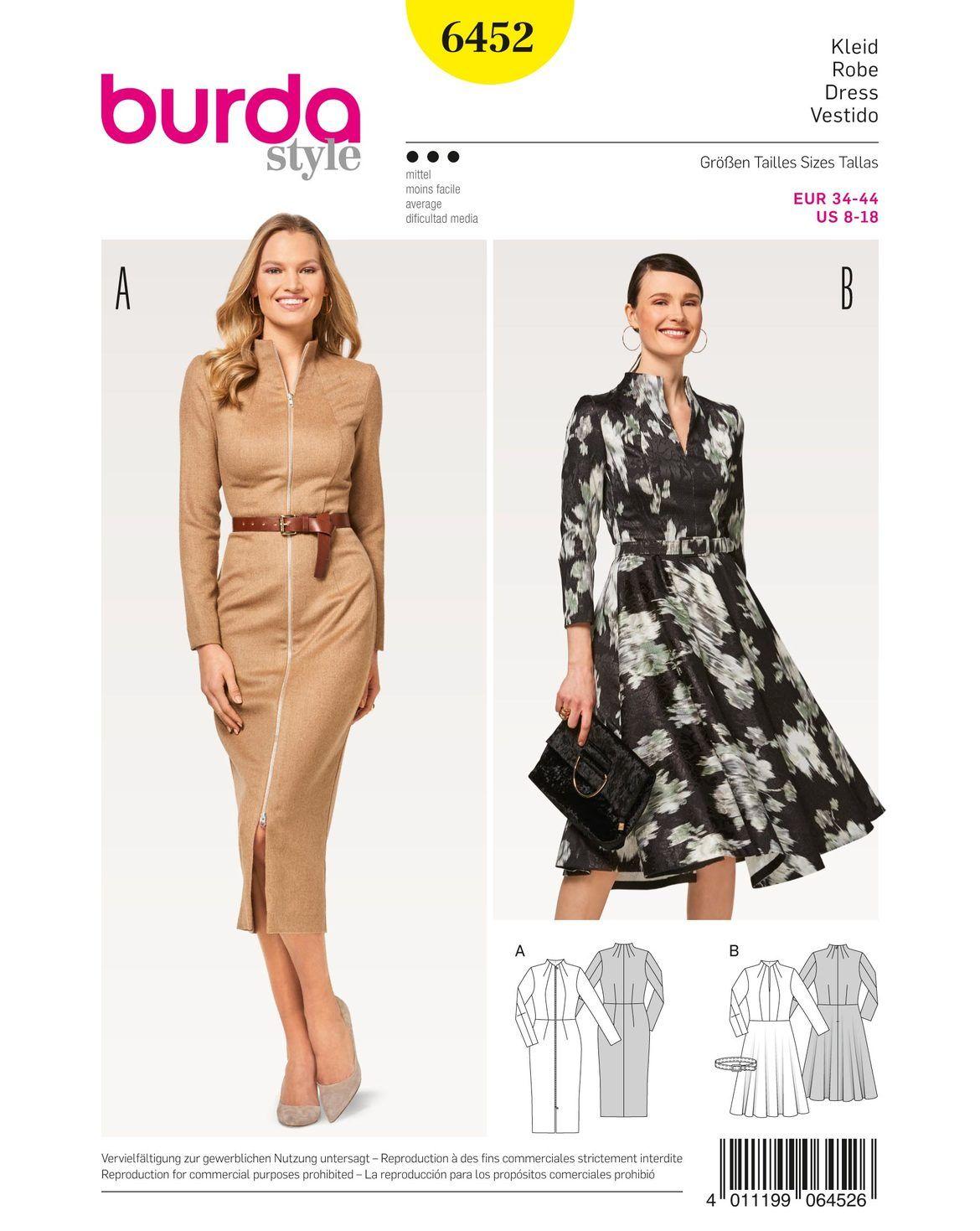 Zwei Kleider mit körpernahem Oberteil. Einmal ein Mantelkleid mit