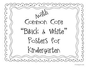 Kindergarten Common Core Posters For Math: Black & White