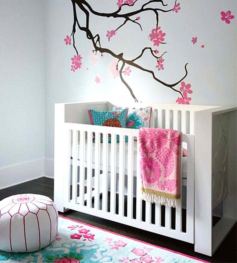 Baby Nursery Ideas Asian Themed Wall Mural Revel Pink Flowers Feminim Patters White Crib Fl Motif Rug Stripes Line Pouffe