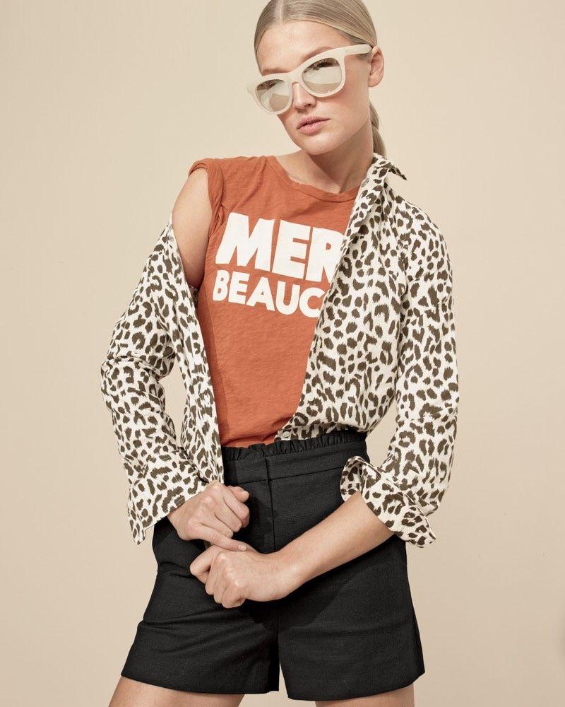 02f478e47eec J. Crew Cotton-Linen Perfect Shirt in Leopard Print