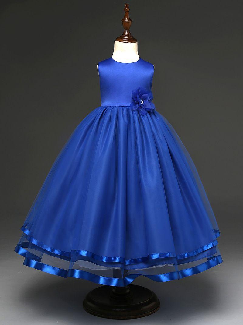 Fashion simple wedding flower girl dress blue kids birthday ball