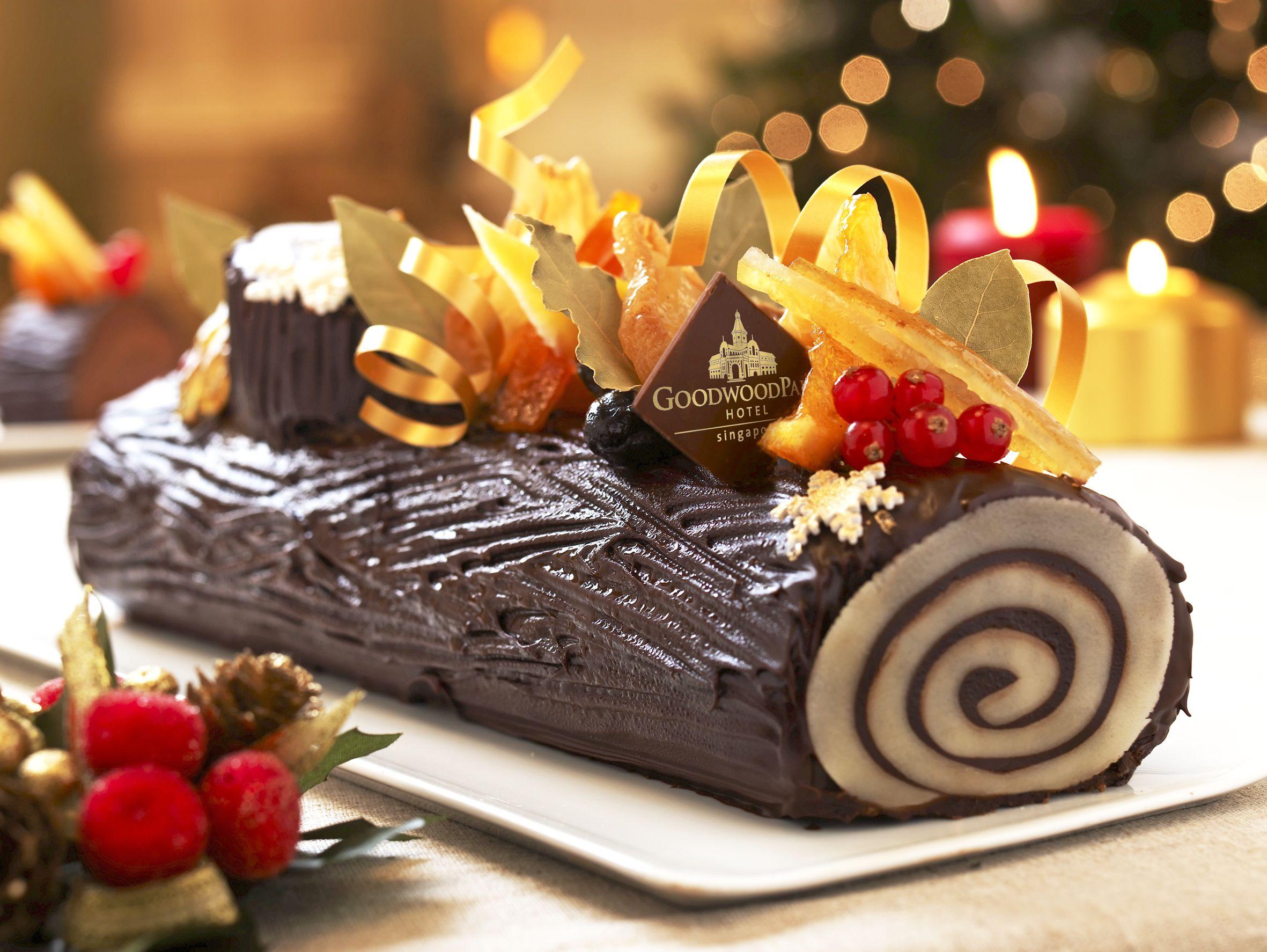 Traditional Xmas Chocolate Log Cake Goodwood Park Hotel