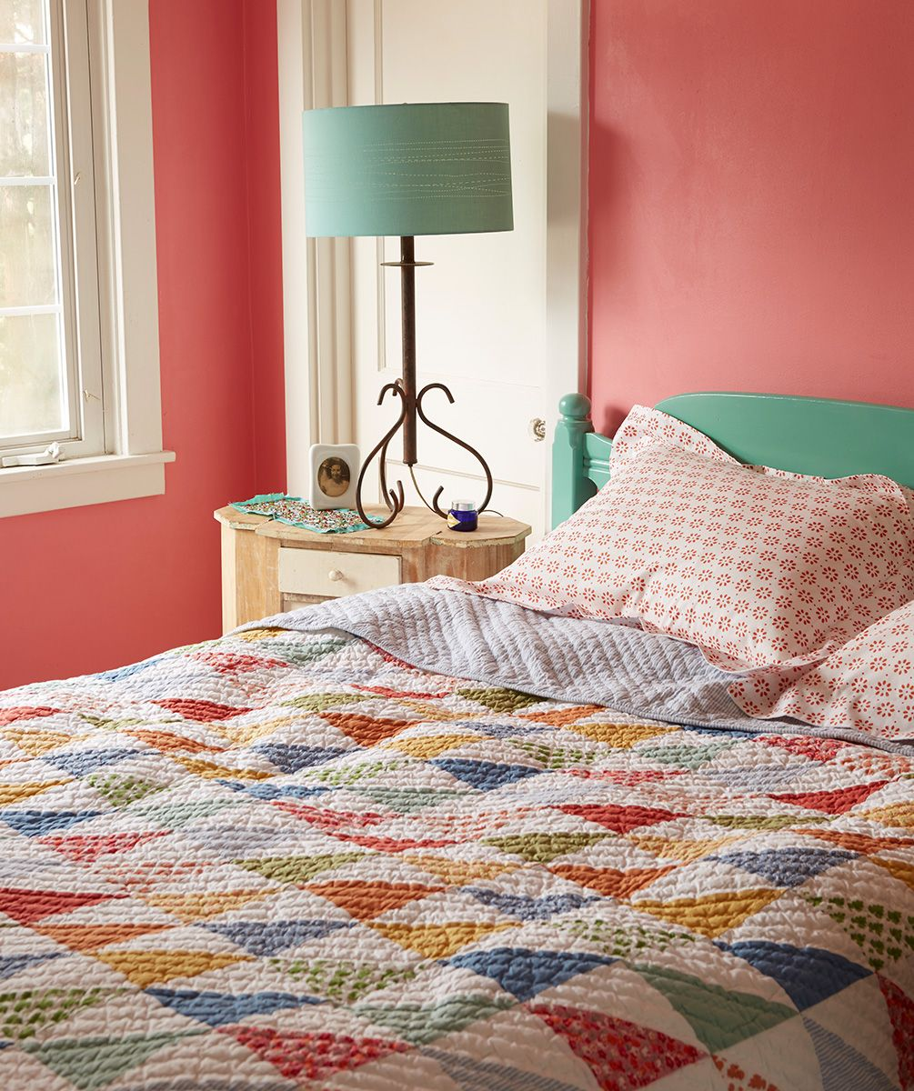 My bold and beautiful retreat  L L Bean Flying Geese Quilt and Sunwashed  Percale Shams. My bold and beautiful retreat  L L Bean Flying Geese Quilt and