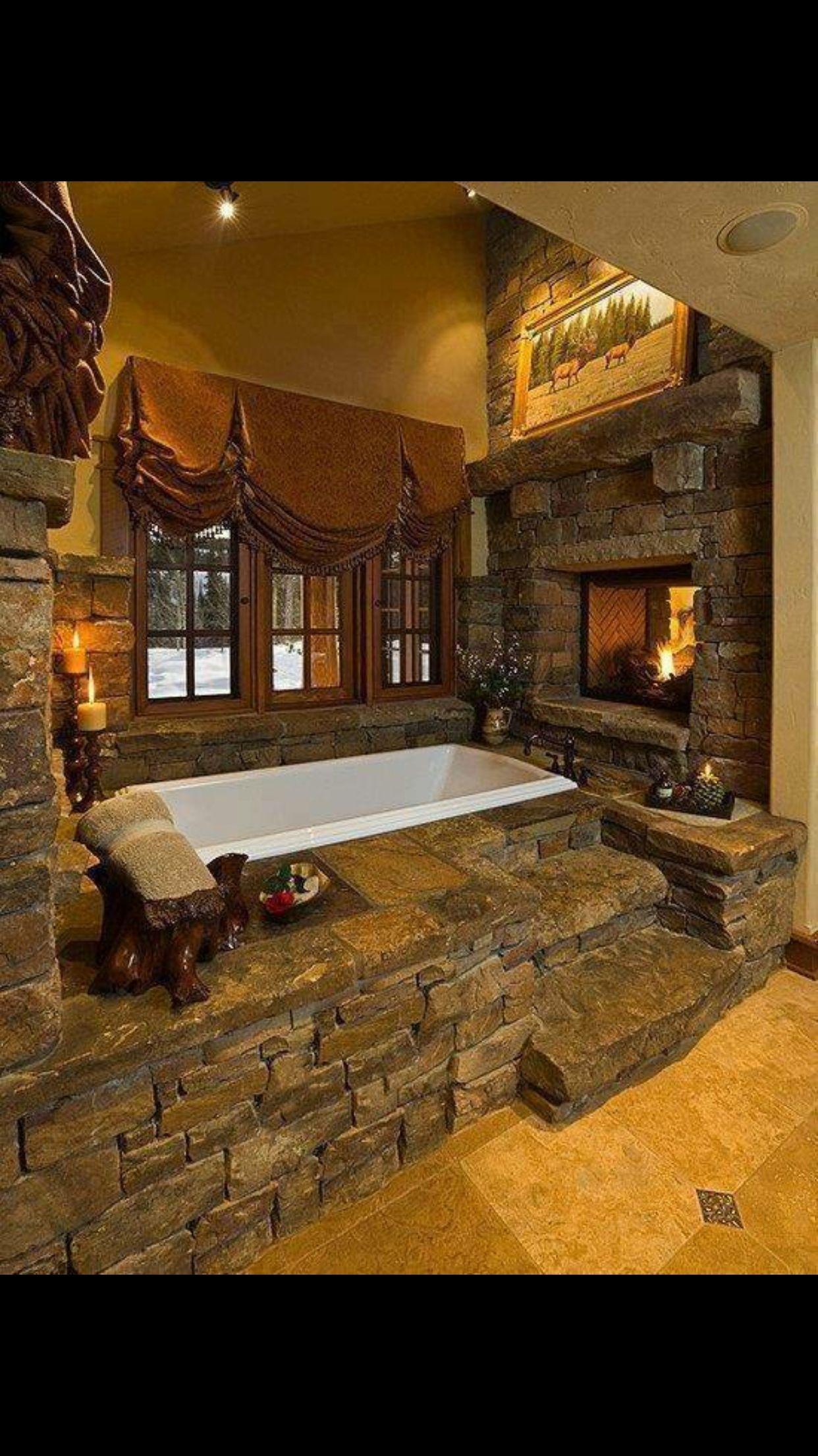 Badezimmer ideen whirlpool love this tub and fireplace  badezimmer ideen  pinterest