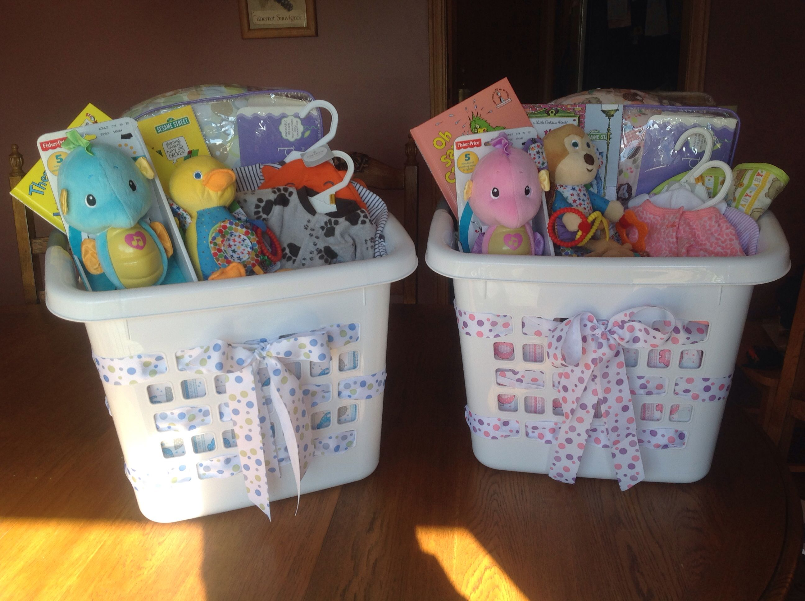 "Use laundry basket as ""Gift Bag"" for Baby Shower ts I used"