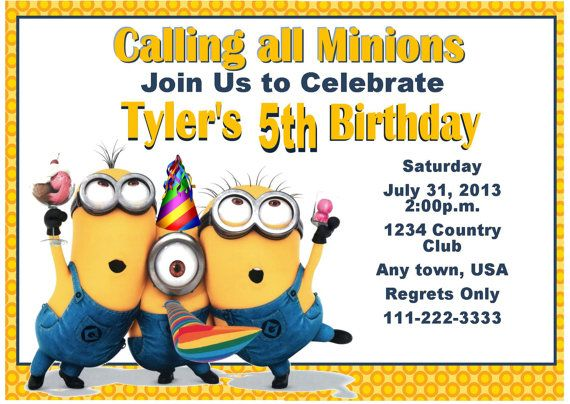 Despicable Me Inspired Invitation Despicable Me Party Ideas Minion