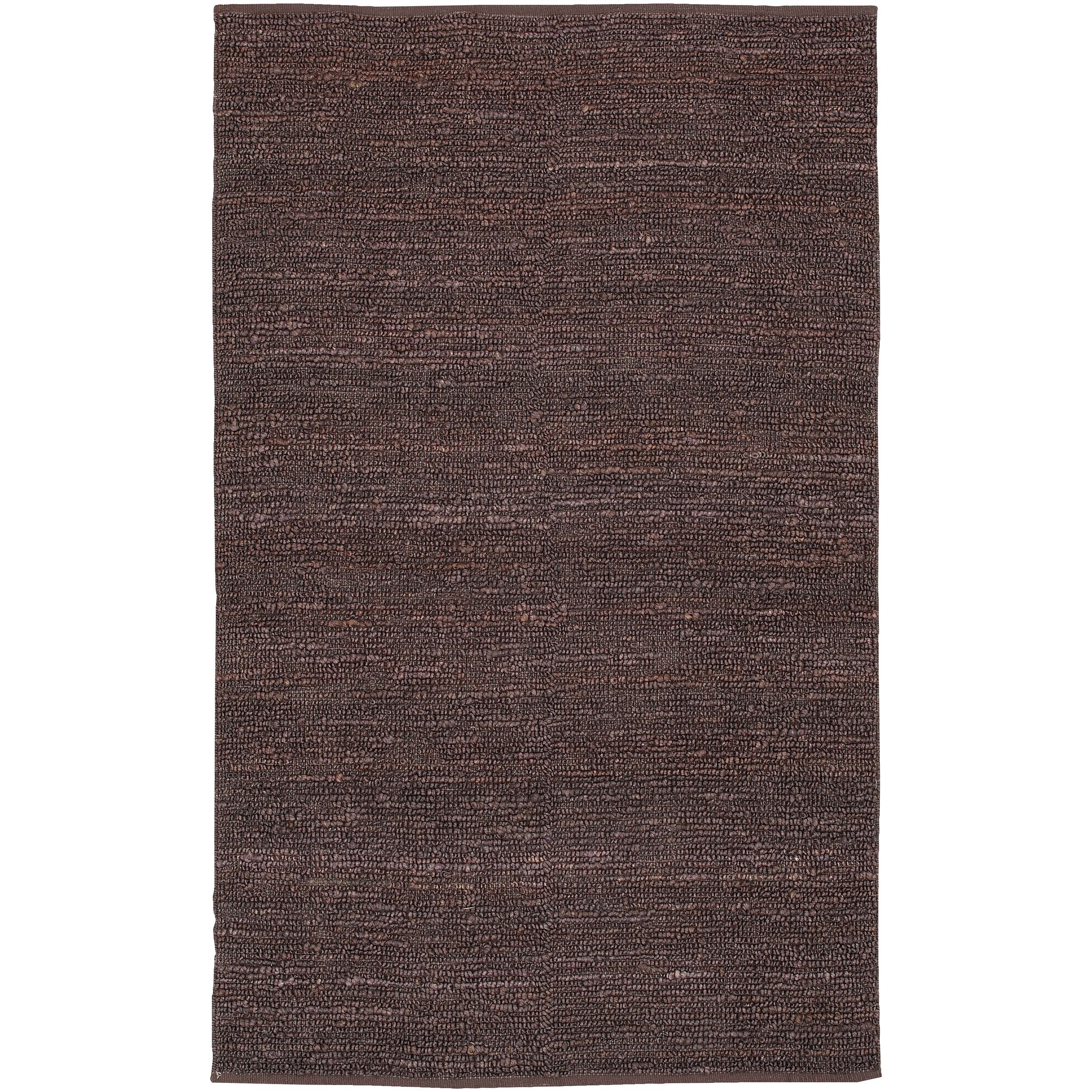 This natural fiber rug is handwoven in India from 100-percent jute. The fibers are woven in loops and will bring a casual look to any home decor.
