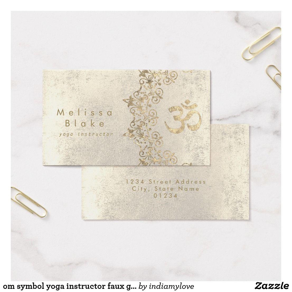 Om symbol yoga instructor faux gold foil decor business card yoga om symbol yoga instructor faux gold foil decor business card reheart Images