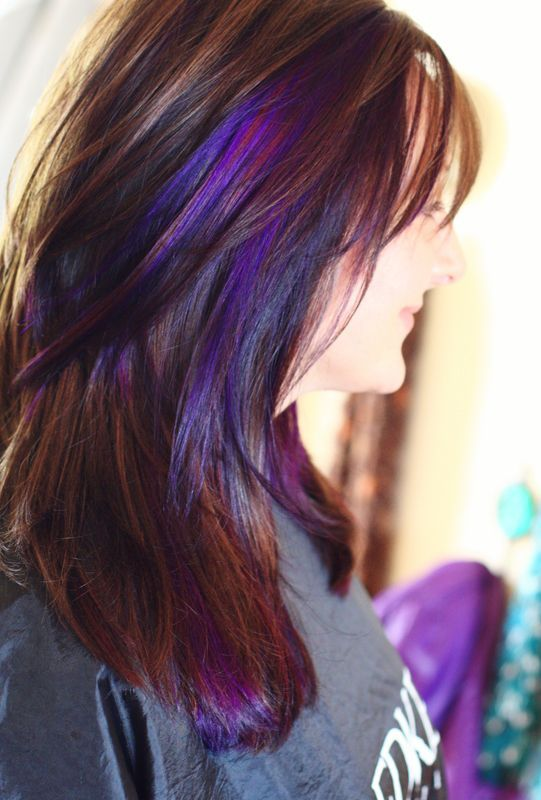 Image Result For Purple Peek A Boo Highlights On Brown Hair
