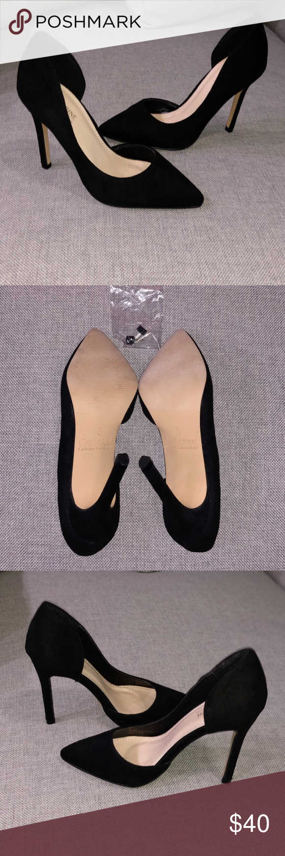 dd4c82550a7 Black Suede Heels Catherine Malandrino Beautiful Black Suede Heels. Brand  new! Hillary d