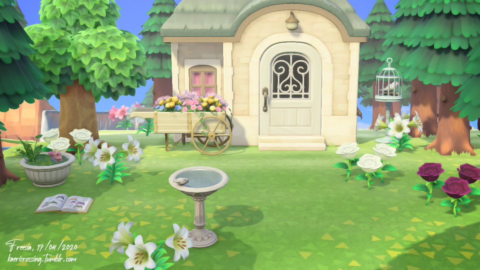 Wanted To Share To You The Final Result Of Diana S House Exterior White Forest Vibes A In 2020 Animal Crossing Villagers New Animal Crossing Animal Crossing Game