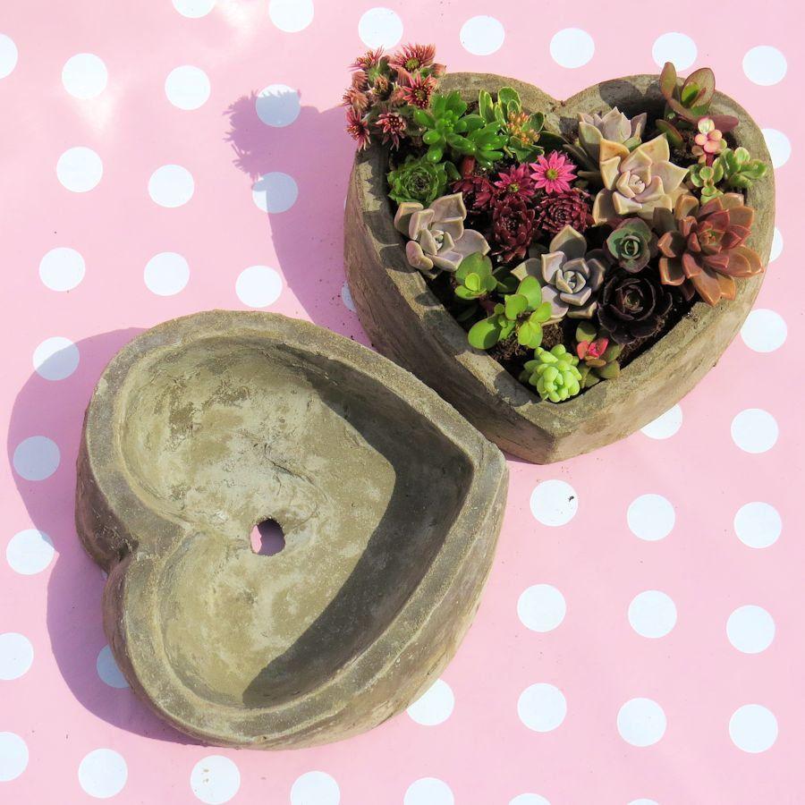 Heart Planter Handmade Concrete Succulent Display Dish Plant Pot Drainage Hole Option Succulent Garden Propagation Dish Valentines Succulent Display Succulent Planter Succulent Terrarium
